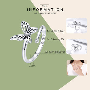 925 Sterling Silver Butterfly Adjustable Women Ring