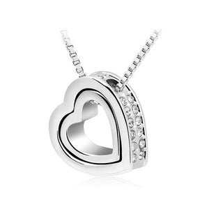 Double Heart Pendant Sweater chain Necklace
