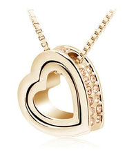 Load image into Gallery viewer, Double Heart Pendant Sweater chain Necklace