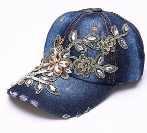 Diamond Embroidery Flower Women Denim Cap