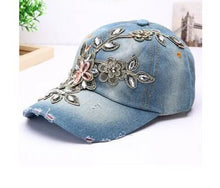 Load image into Gallery viewer, Diamond Embroidery Flower Women Denim Cap