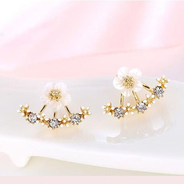 Flower Crystal Women Stud Earrings