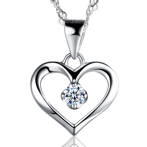 925 Sterling Silver Cubic Zirconia Love Pendant Necklace