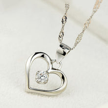 Load image into Gallery viewer, 925 Sterling Silver Cubic Zirconia Love Pendant Necklace