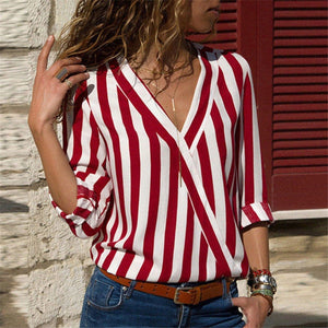 Striped V-neck Long Sleeve Blouse