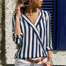 Load image into Gallery viewer, Striped V-neck Long Sleeve Blouse
