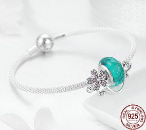 925 Sterling Silver Daisy Flower Green Glass Bracelets