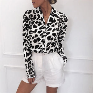 Leopard Print Turn Down Collar Chiffon Blouse