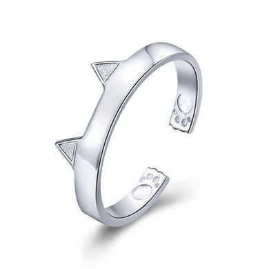 925 Sterling Silver 3 Colors Cat Ears Ring
