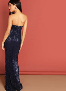 Sequin Mesh Strapless Bodycon Evening Gown