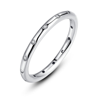 925 Sterling Silver Droplets Stackable Classic Ring