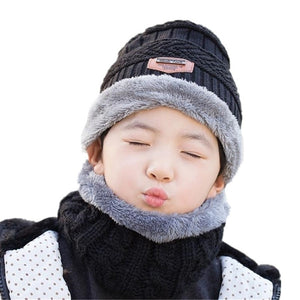 Children Winter Balaclava Beanies Knitted Hat and Scarf