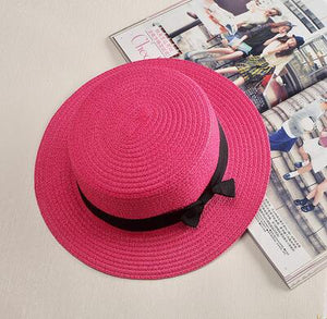 Flat Brim Bowknot Straw Lady Beach Hat