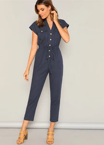 Casual Navy Button and Pocket Front Jumpsuit