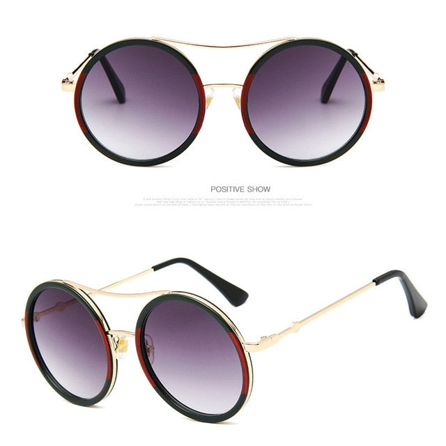 Retro Round Luxury Mirror Women Sunglasses