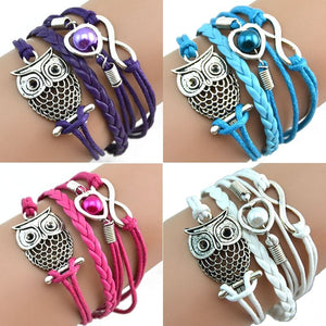 Multilayer Owl Pearl Leather Bracelet