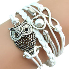 Load image into Gallery viewer, Multilayer Owl Pearl Leather Bracelet