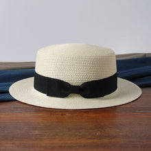 Load image into Gallery viewer, Flat Brim Bowknot Straw Lady Beach Hat