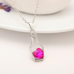 Love Drift Bottles Heart Crystal Pendants Necklace