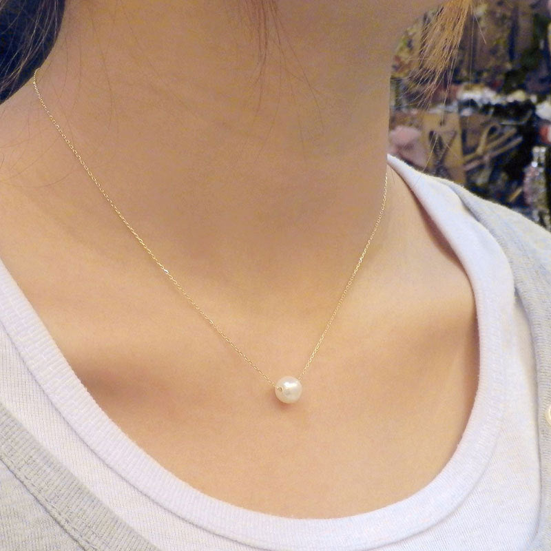 Round Ball Imitation Pearl Pendant Necklace