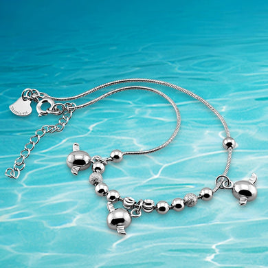 925 Sterling Silver Little Angel Eggs Ankle Bracelet