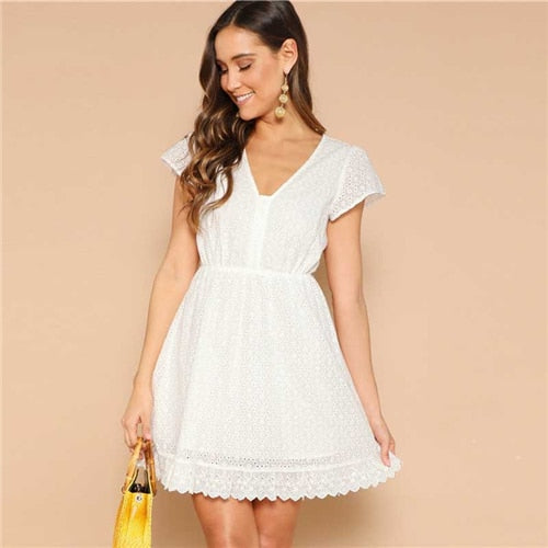 White Lace V-neck Solid Summer Short Dress