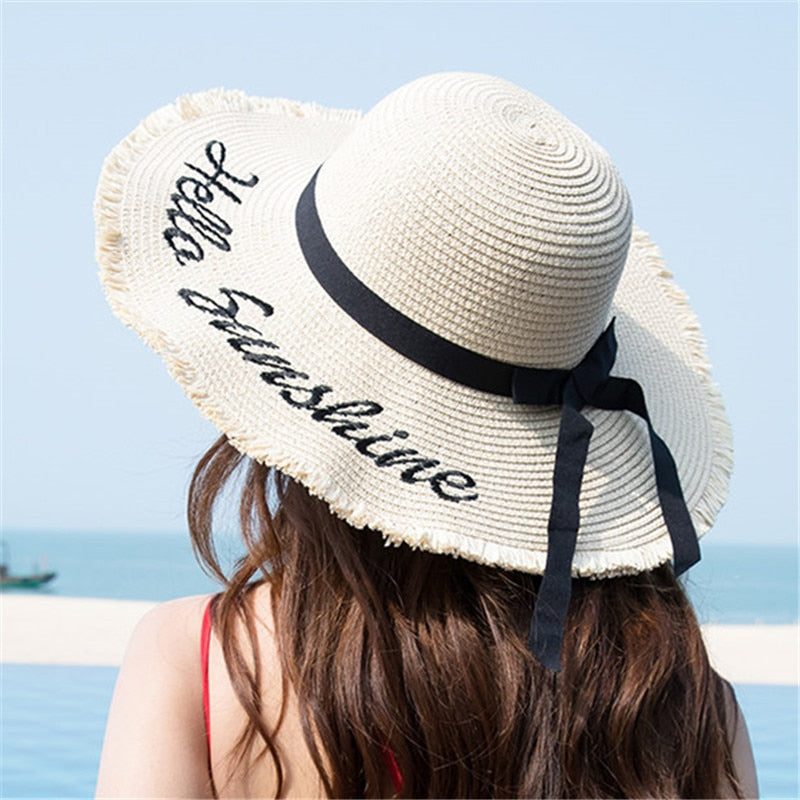 Handmade Black Ribbon Weave Straw Hat