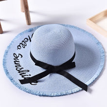 Load image into Gallery viewer, Handmade Black Ribbon Weave Straw Hat