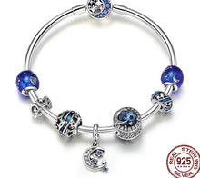 Load image into Gallery viewer, Star Moon Blue Enamel Bracelet