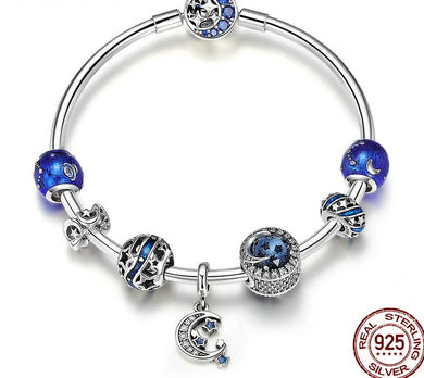 Star Moon Blue Enamel Bracelet