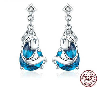 925 Sterling Silver Mermaids Blue Crystal Drop Earrings