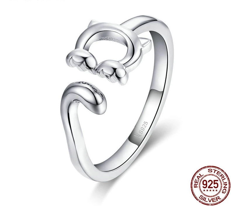 925 Sterling Silver Cute Cat Long Tail Ring