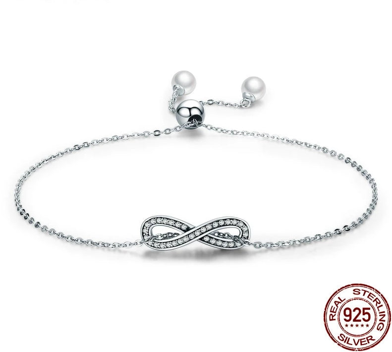 925 Sterling Silver Infinity Love Chain Women Bracelet