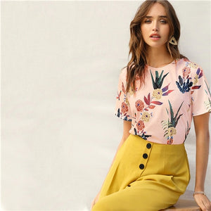 Floral And Plants Print Women Blouse