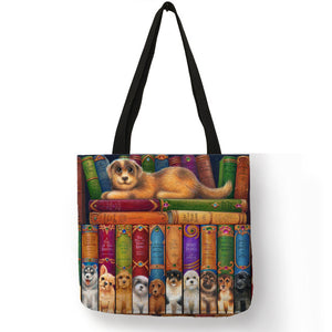 Oil Painting Cat Print Women Tote Bag
