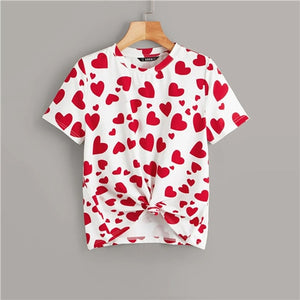 Allover Heart Print Summer T-Shirt