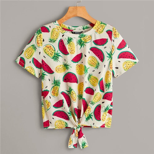 Tie Front Fruit Print Women T-Shirt