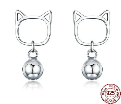 925 Sterling Silver Cat Bell Stud Earrings