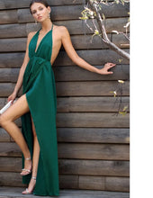 Load image into Gallery viewer, Sexy High Slit Satin Maxi Party Dress