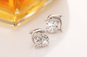 925 Sterling Silver Crystal Eye Dolphin Women Stud Earrings