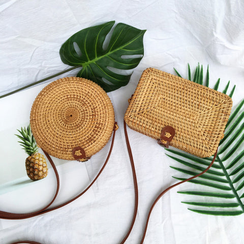 Handmade Round Square Crossbody rattan bag