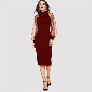 Jacquard Mesh Sleeve Bodycon Pencil Dress