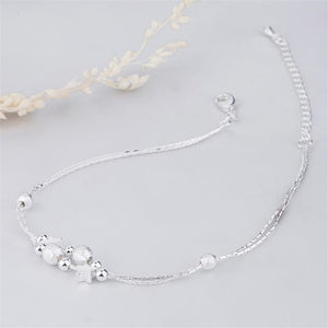 925 Sterling Silver Double Chain Star Ankle Bracelet