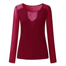 Load image into Gallery viewer, Sexy Lace V-neck Splice Long Sleeve Top
