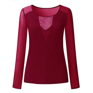 Sexy Lace V-neck Splice Long Sleeve Top