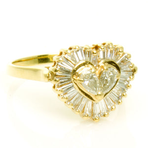 1.00ct Pear & Baguette Diamond Heart Ring - Chicago Pawners & Jewelers