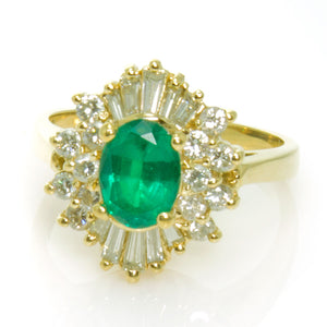 2.15ct Emerald & Diamond Ballerina Ring - Chicago Pawners & Jewelers