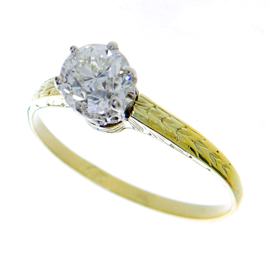 Antique 0.82ct Solitaire Diamond Engagement Ring