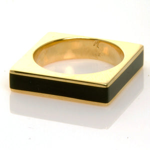 Modernist 14kt Black Onyx Square Ring - Chicago Pawners & Jewelers