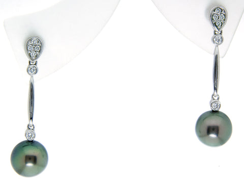 14k Black Pearl & Diamond Earrings